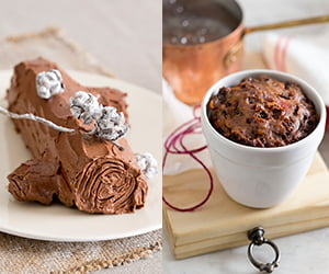 yule log and puding