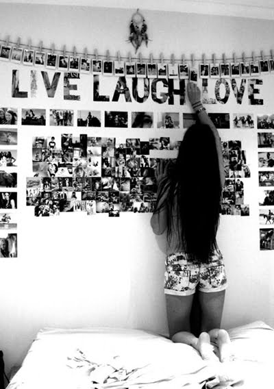 Teen photos on bedroom wall
