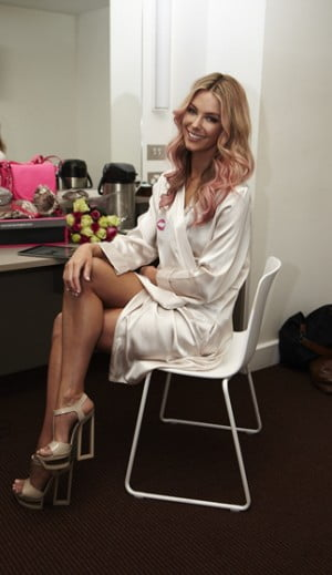 Jennifer Hawkins backstage at Bendon Lingerie Show