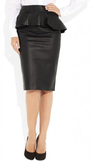 Alexander McQueen Peplum Leather Skirt