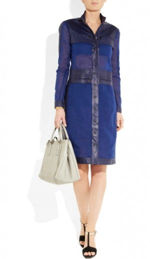 Botega Venetta Leather and Cotton Organza Dress