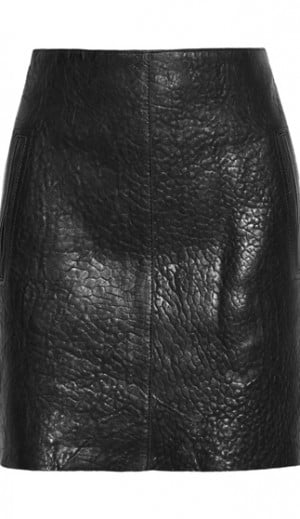 Carven Textured Mini Leather Skirt