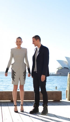 Designer Dion Lee and Model pose in Sydney