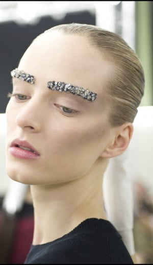 Model Poses backstage at Chanel Show