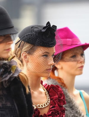 Models pose at the Myer Autumn Winter Racing Launch