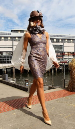Model poses for Myer Autumn Winter Races Launch