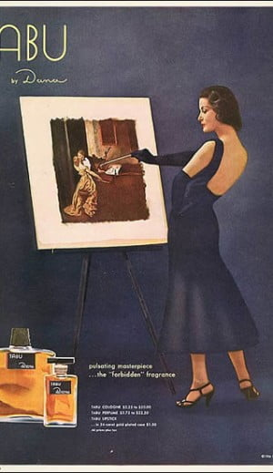 Tabu Classic Blue Painter Holiday Ad 1956